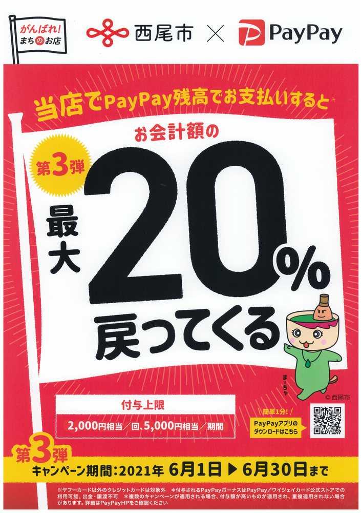 〈がんばれ西尾市!第3弾 対象店舗を拡大して最大20%戻ってくるキャンペーン〉のご案内